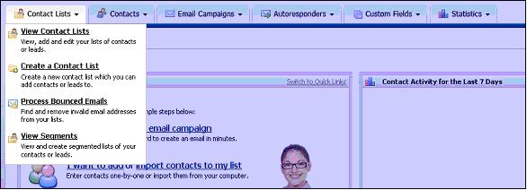 Figure 10 - The Contact Lists Menu