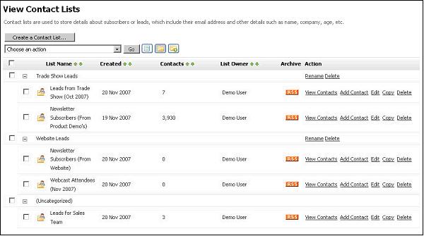 Figure 12 - Contact List Group Folders