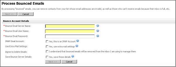 Figure 19 Processing Bounced Emails - Enter Server Details