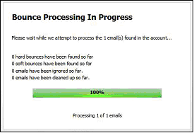 Figure 21 Processing Bounced Emails Progress
