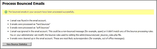 Figure 22 Processing Bounced Emails Summary