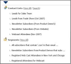 Figure 27 Contact List and Segment Menu