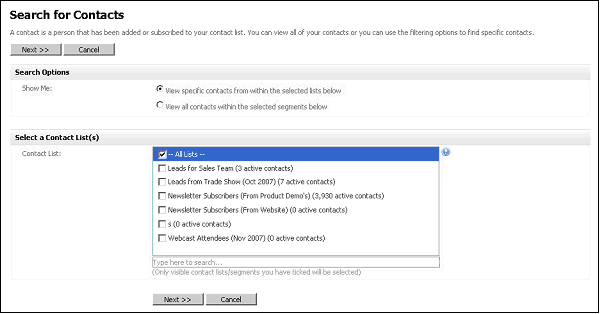 Figure 35   Searching Contacts Choose List or Segment