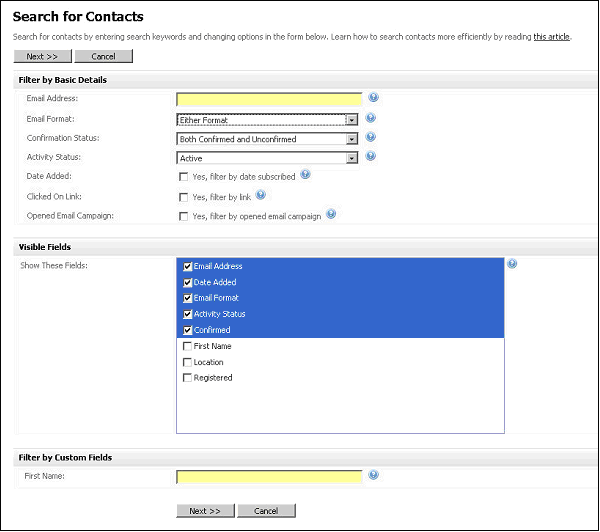 Figure 36   Searching Contacts Filter and Show Fields