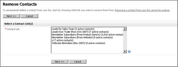Figure 57   Remove a Contact Choose Contact List