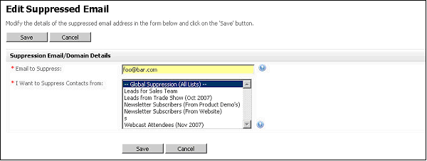 Figure 64   Edit Suppressed SmartEmail Address